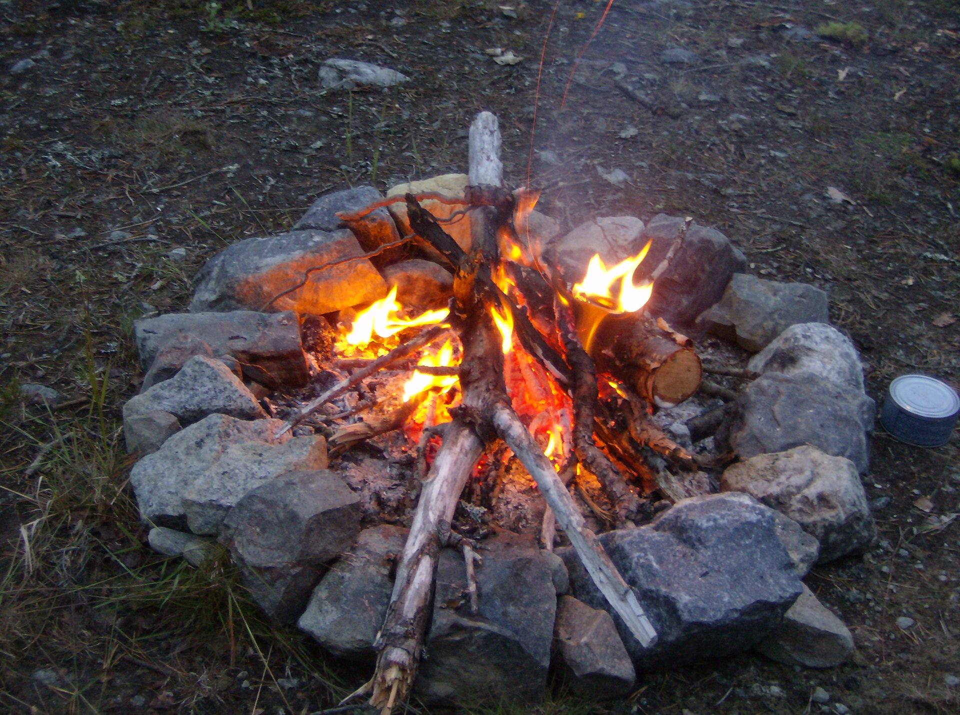 Camp fire during Bushcraft & Survival in Lapland